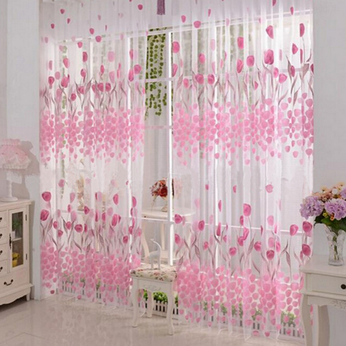 Tulipe fleur sheer rideau fen tre fil porte voilage for Fenetre dos windows 8