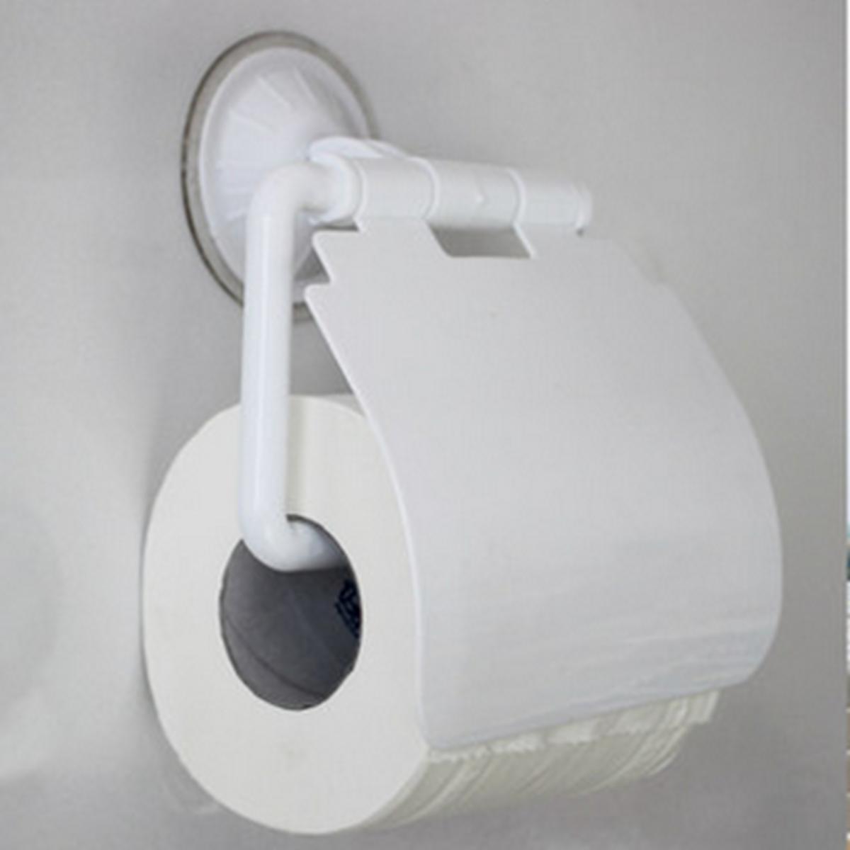 bathroom sucker wall mounted toilet paper holder cover roll tissue box hanger. Black Bedroom Furniture Sets. Home Design Ideas