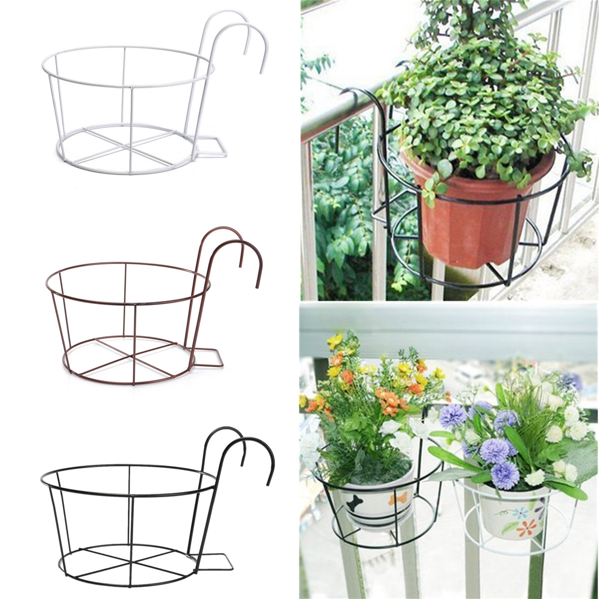 Flower Baskets For Balconies : Metal iron flower pot hanging balcony garden plant planter
