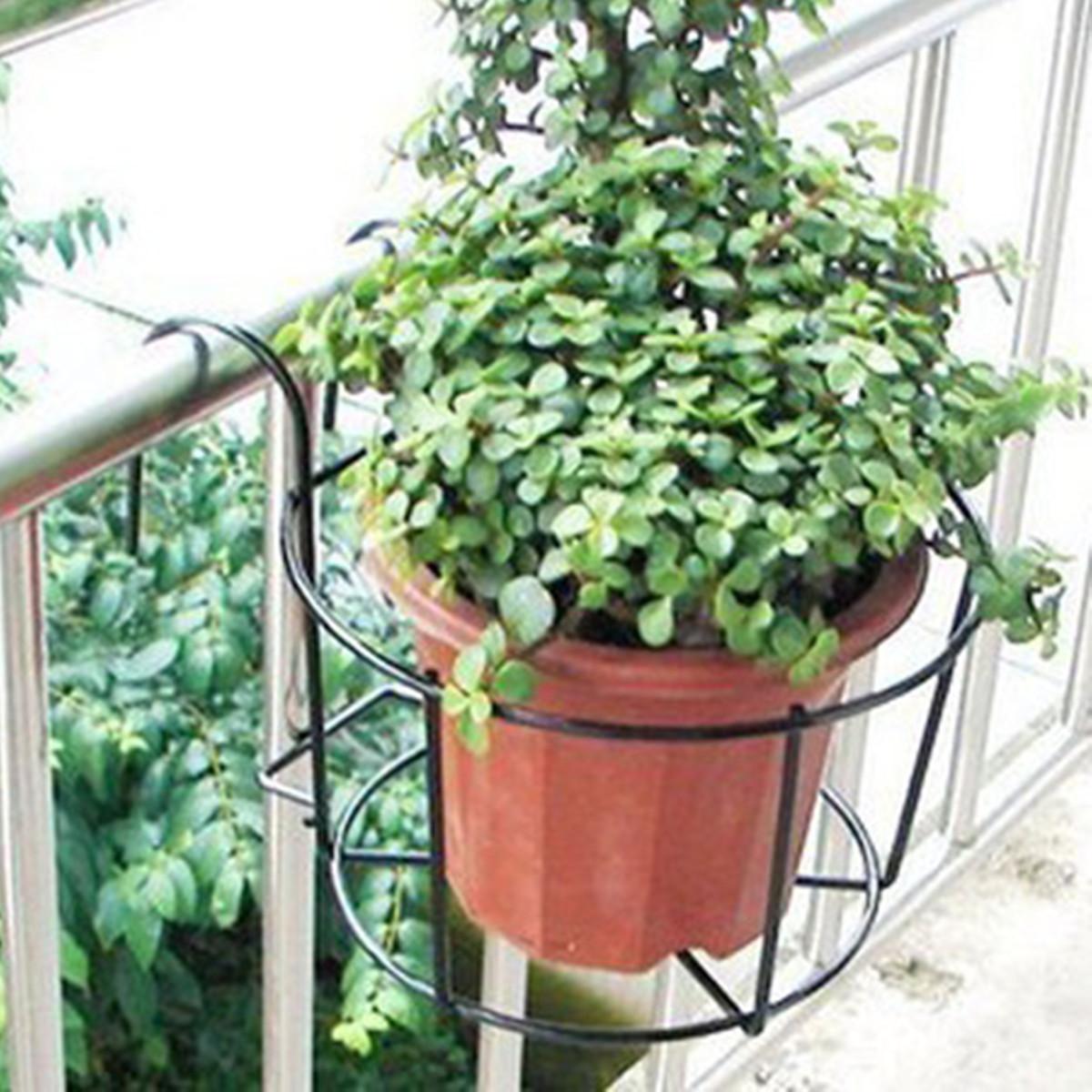 Metal Iron Flower Pot Hanging Balcony Garden Plant Planter Home Decor Basket Ebay