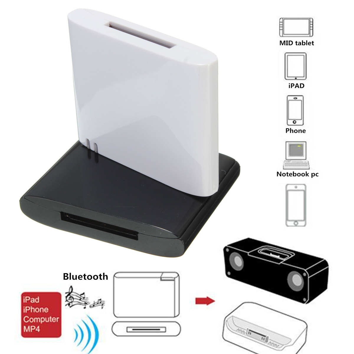 Bluetooth Music Receiver Adapter For Bose Sounddock Series IPhone IPod 4