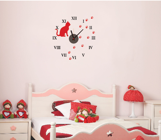 Modern cute diy wall clocks pvc sticker home living room for Cute wall decor for bedroom