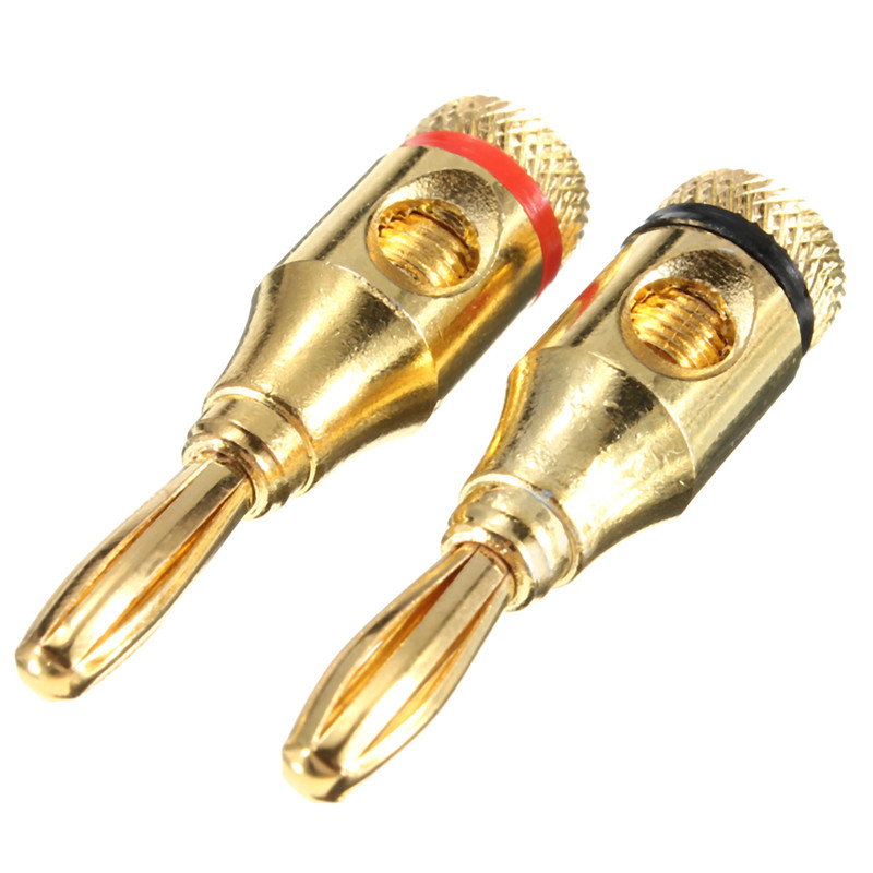 10 pairs 4mm musical audio speaker cable wire gold plated banana plug connector ebay. Black Bedroom Furniture Sets. Home Design Ideas