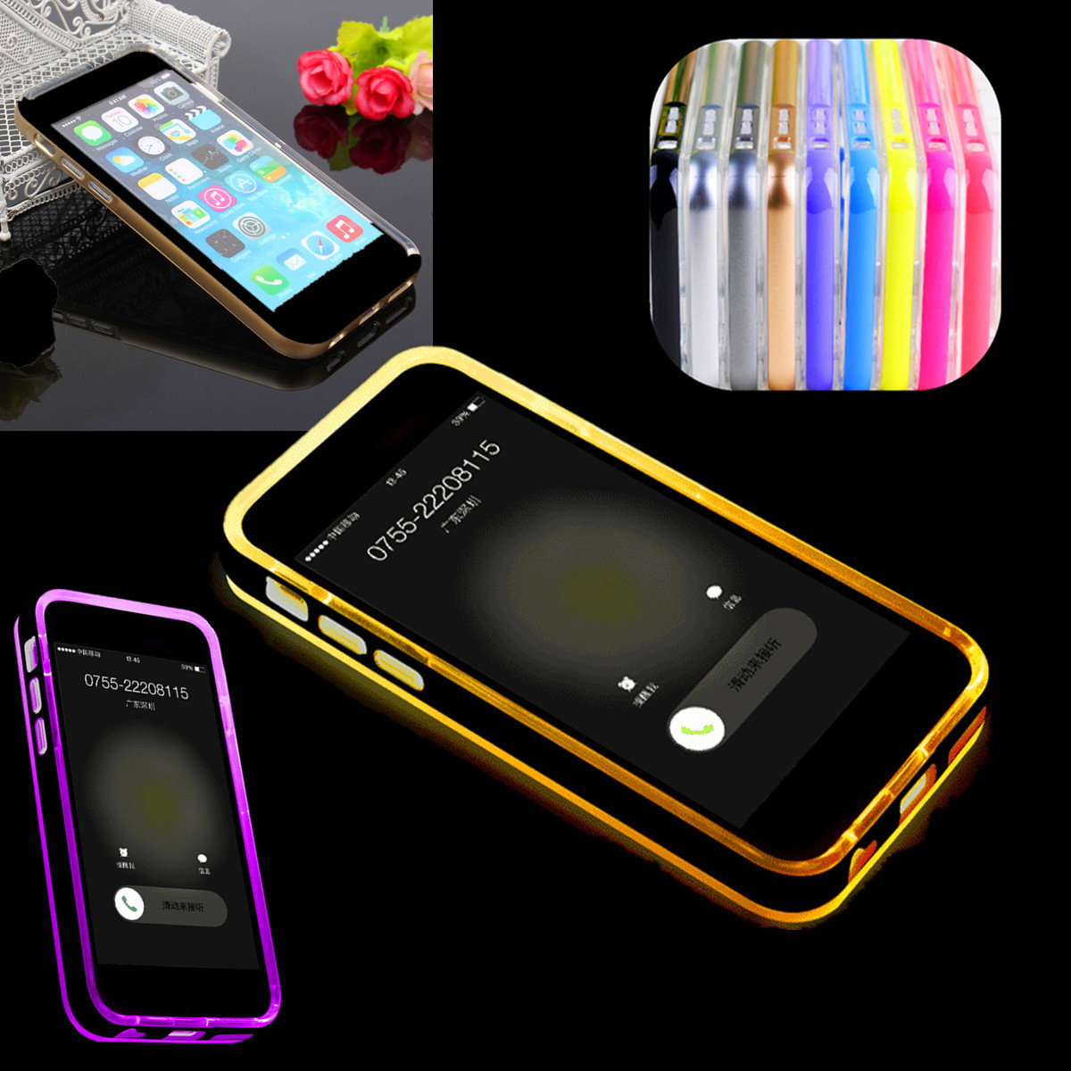 handy rahmen h lle fall cover abdeckung led blinkt flash tpc pc f r iphone 6 4 7 ebay. Black Bedroom Furniture Sets. Home Design Ideas