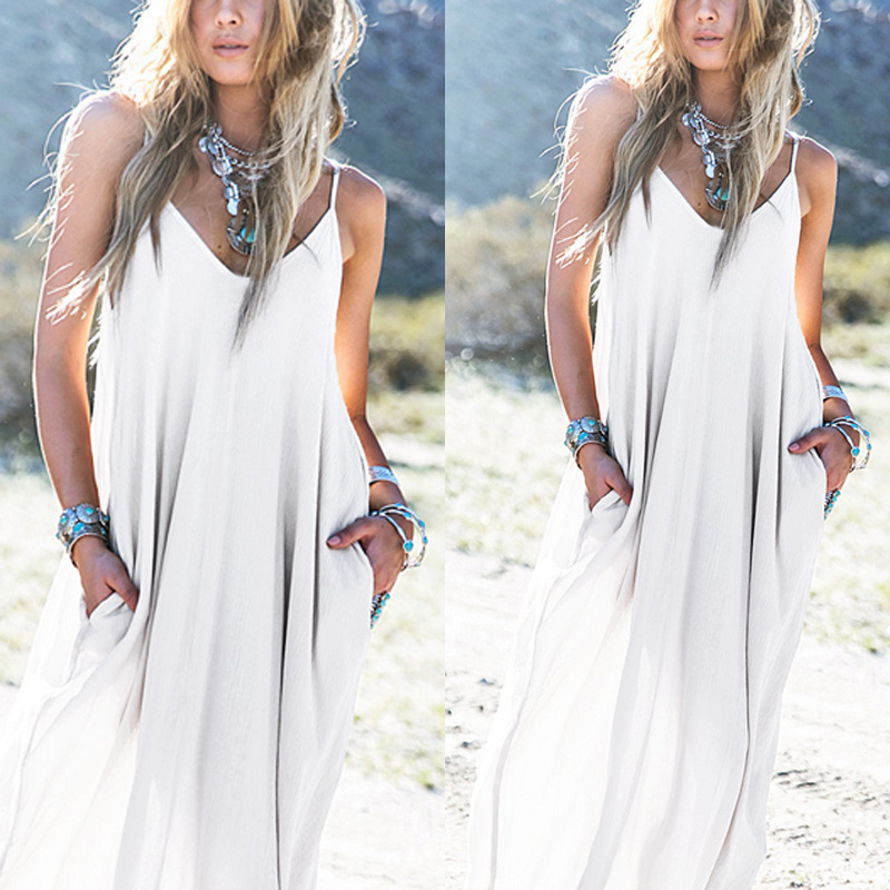 Vestido hippie blanco largo