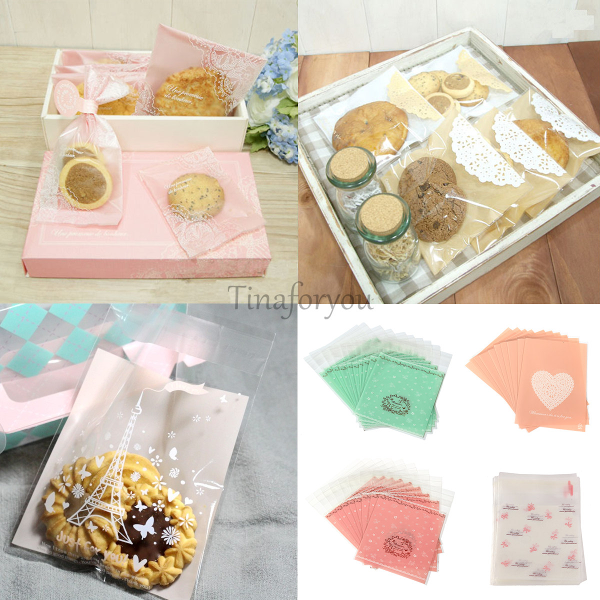 20 50x self adhesive candy bag cellophane cookie pack for Cookie bags for wedding