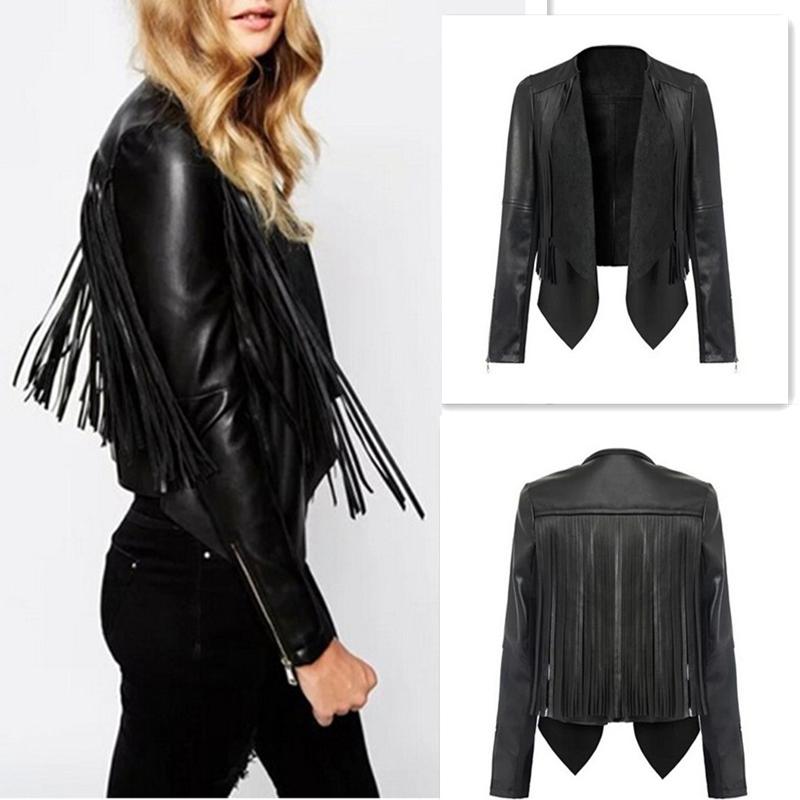 Vintage Women PU Slim Tassel Motorcycle Soft Leather Zipper Jacket Coat Outwear