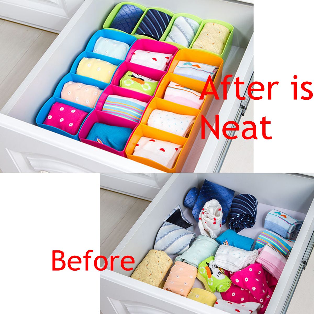 storage socks container tie bra jewelry divider tidy drawer itm box drawers cosmetic plastic organizer