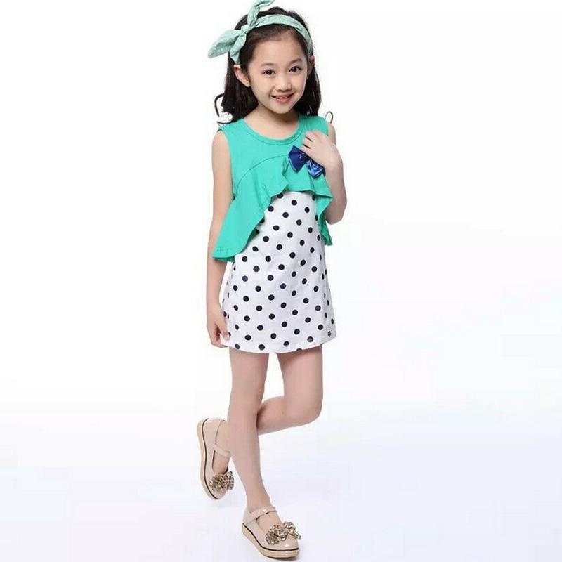Baby Kid Girls Cute Polka Dot One-piece Dress Skirt Child Summer Dress Clothes