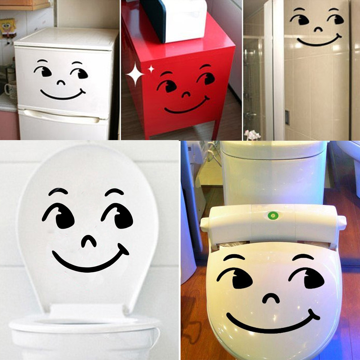 Funny Cartoon Smile/Cry Face Toilet Seat Stickers Bathroom Wall ...