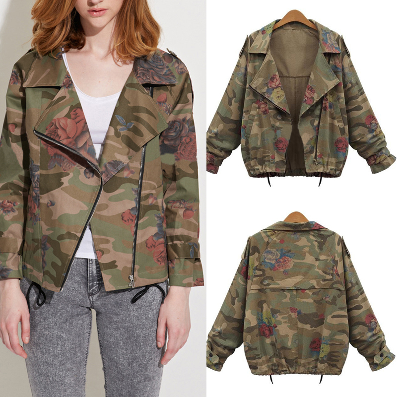 damen camouflage rose trendy blazer cardigan jacke mantel parka coat. Black Bedroom Furniture Sets. Home Design Ideas