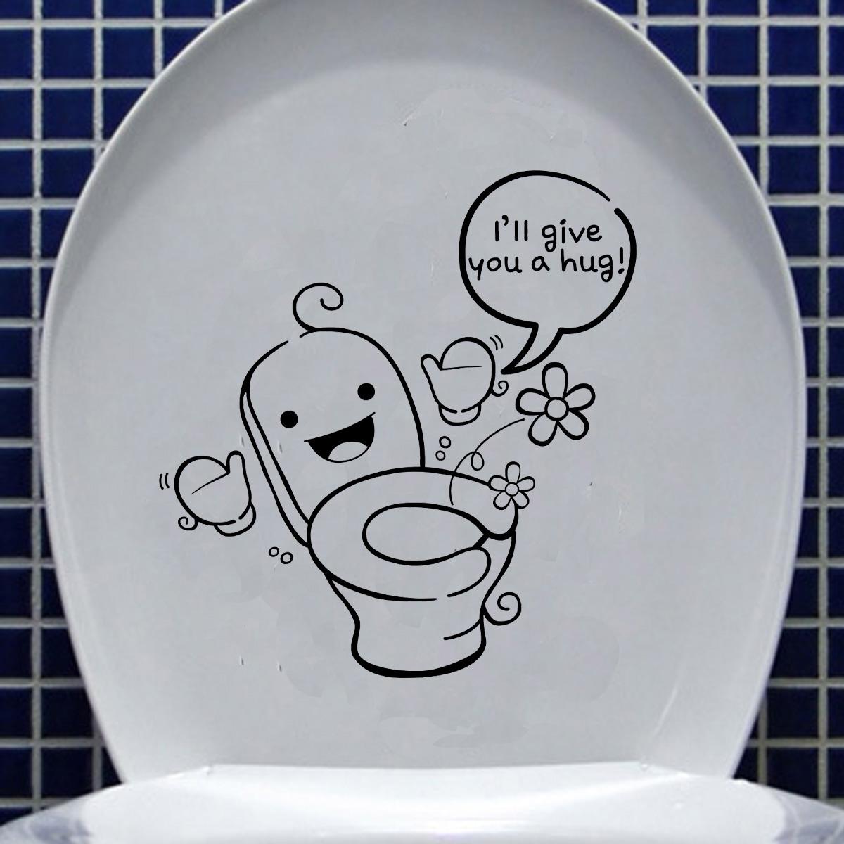 DIY Funny Cartoon Toilet Seat Stickers Bathroom Refrigerator