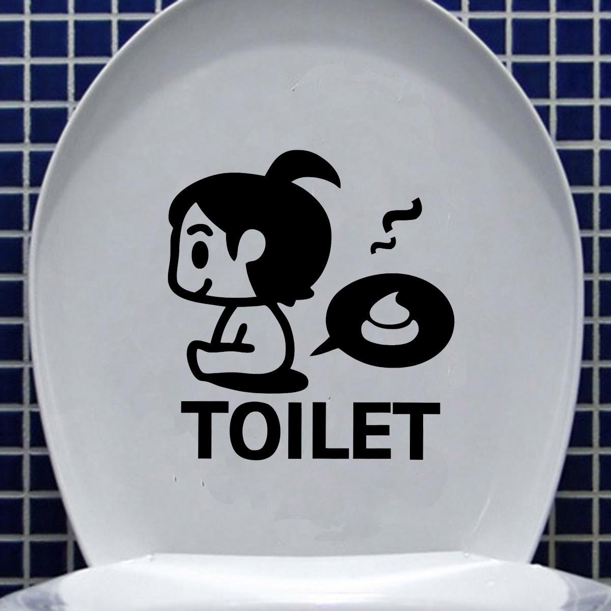 Diy Funny Cartoon Toilet Seat Stickers Bathroom