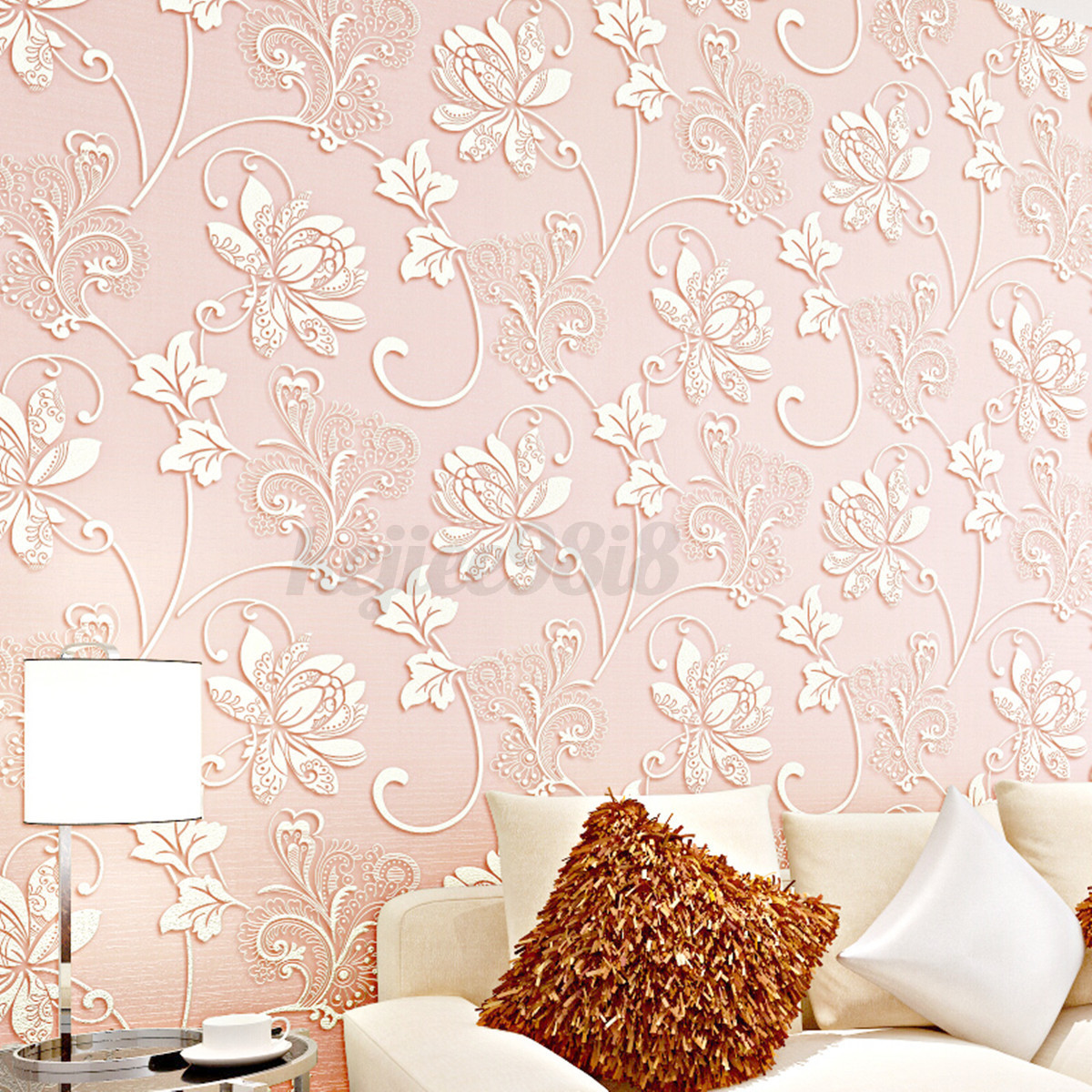 Luxury silver 3d victorian embossed non woven wallpaper for 3d embossed wallpaper
