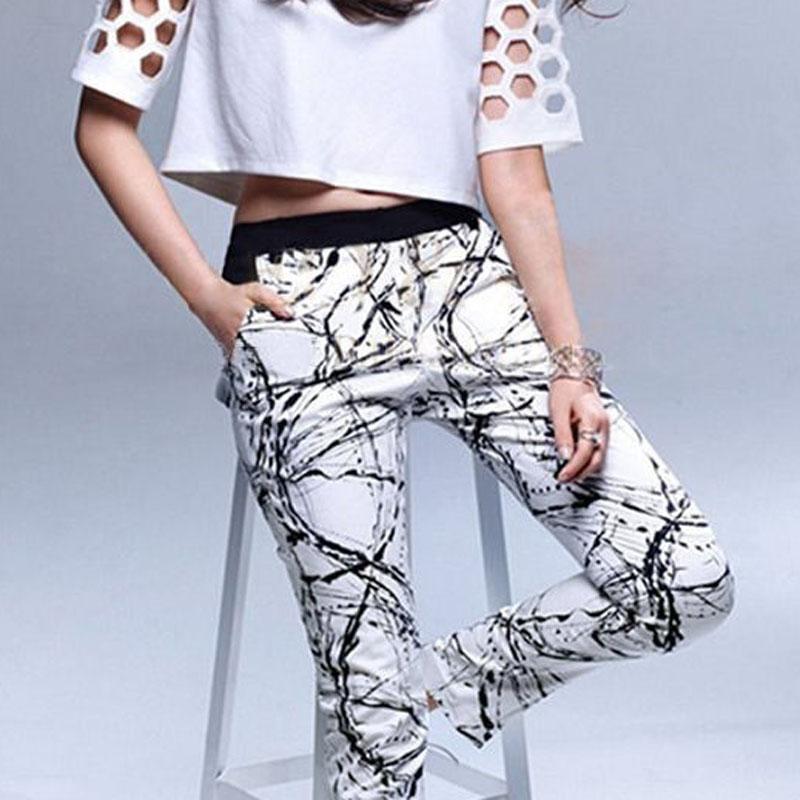 Women Stretch White Black Harem Pants Stretch Casual Long Trousers Pants Elastic