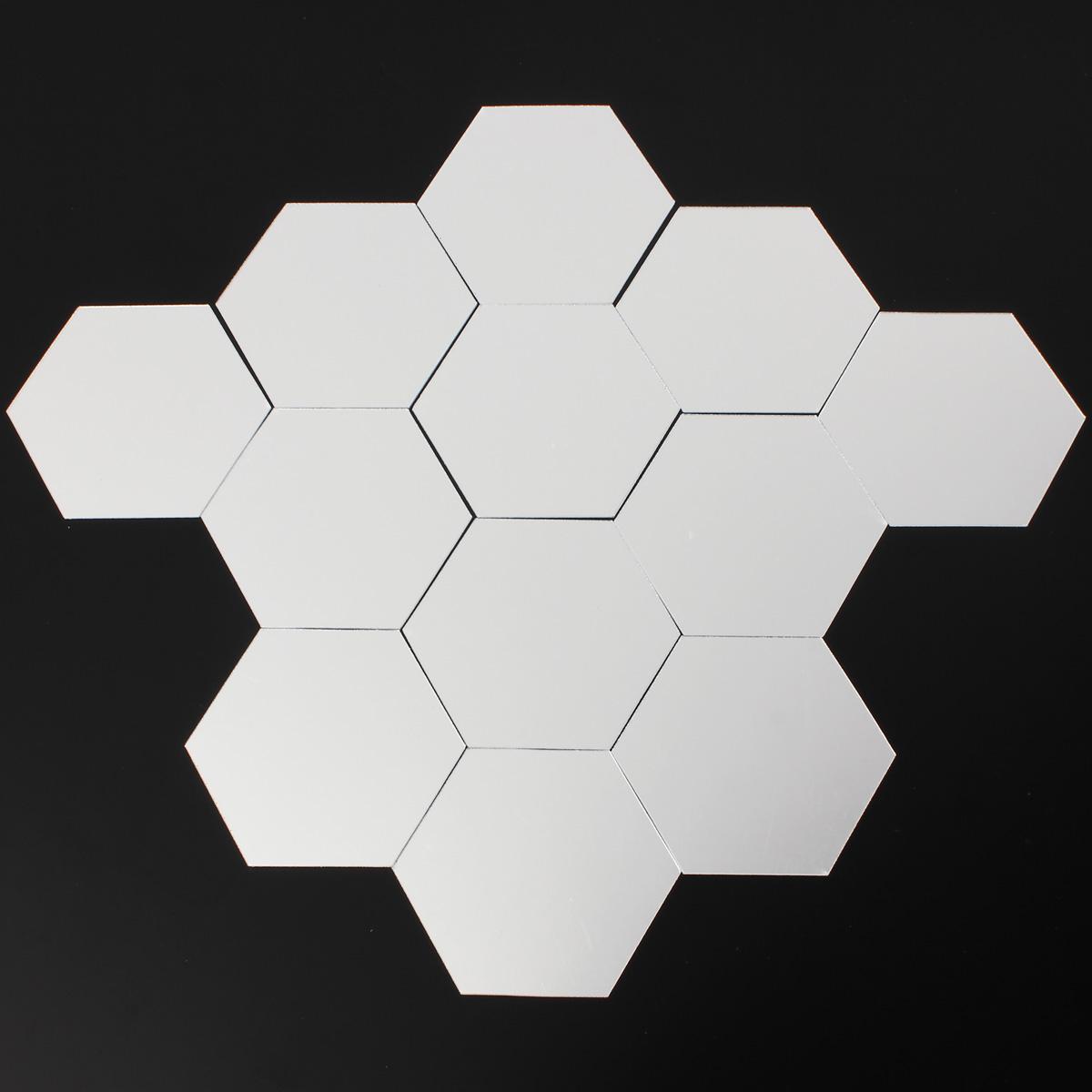 Details about 12PCS 3D MIRROR EFFECT GEOMETRIC HEXAGON ACRYLIC WALL ...