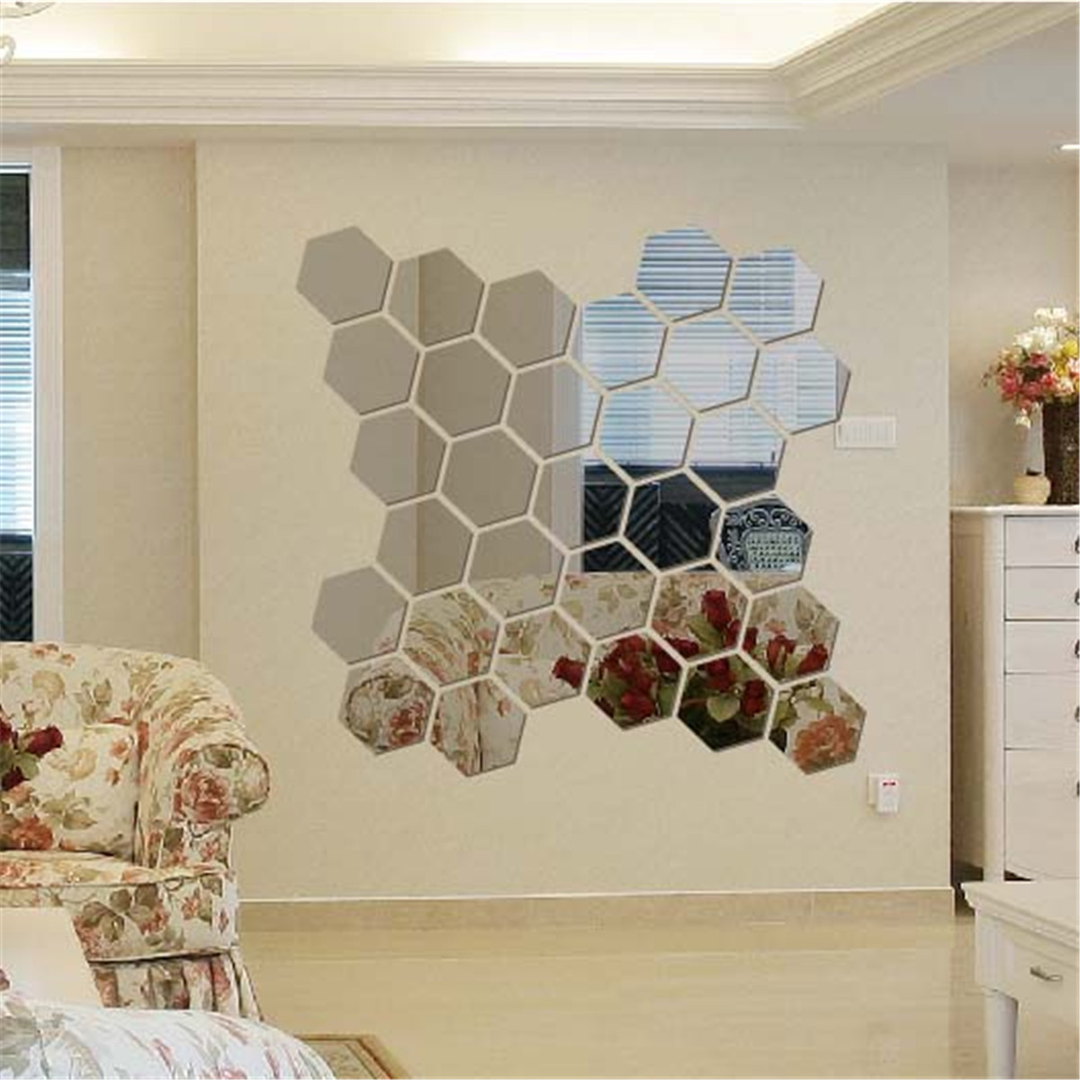 12pcs 3d modern mirror geometric hexagon acrylic wall - Stickers miroir cuisine ...