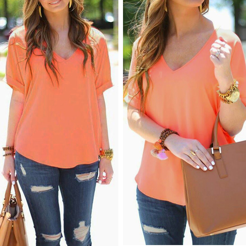 Summer Casual Womens Blouse Short Sleeve Shirt Sexy Ladies V-Neck T-shirt Tops
