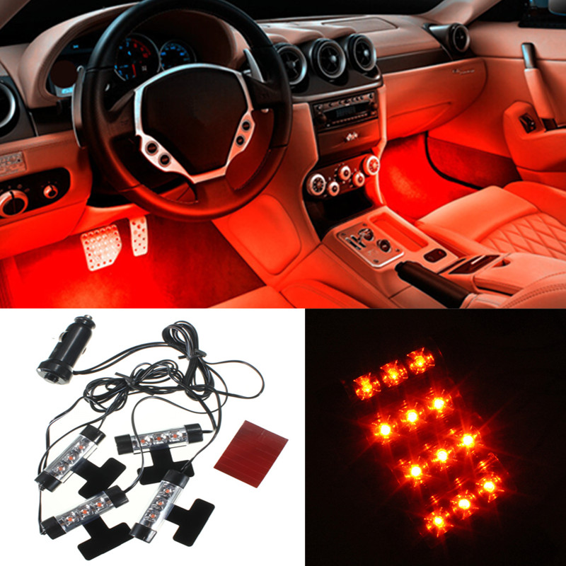 4x 3 LED Car Charge 12V Glow Interior Decorative 4in1 Atmosphere Light Lamp