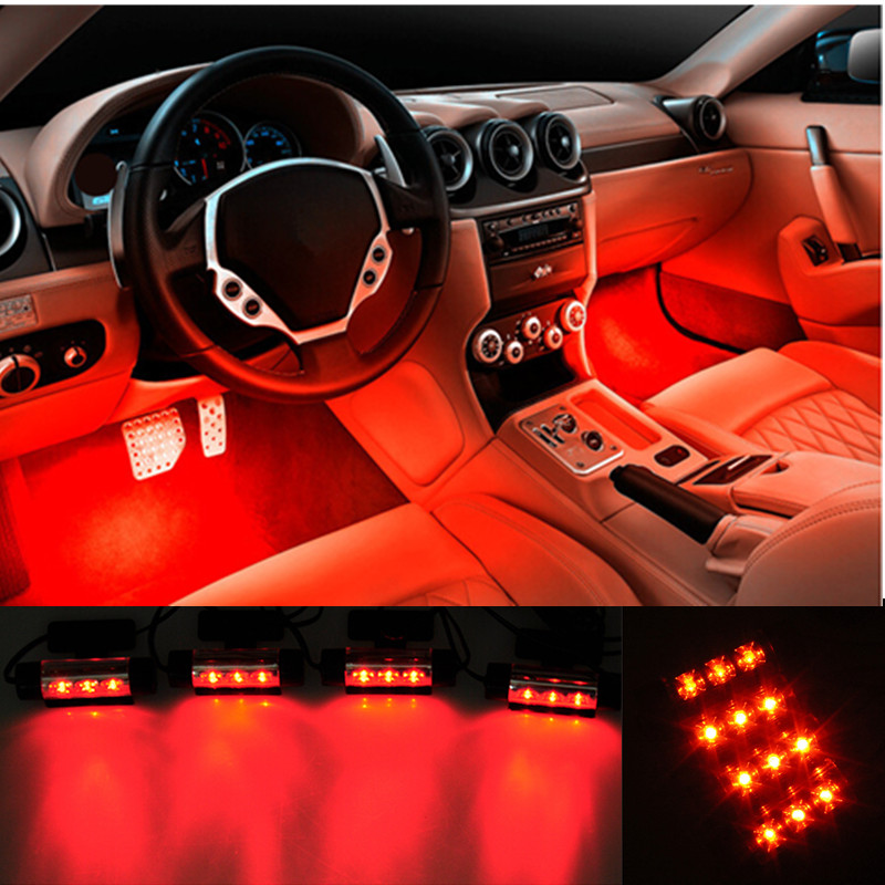 4x3 led voiture auto int rieur ambiance atmosph re feux lampe orange d cor 12v ebay. Black Bedroom Furniture Sets. Home Design Ideas