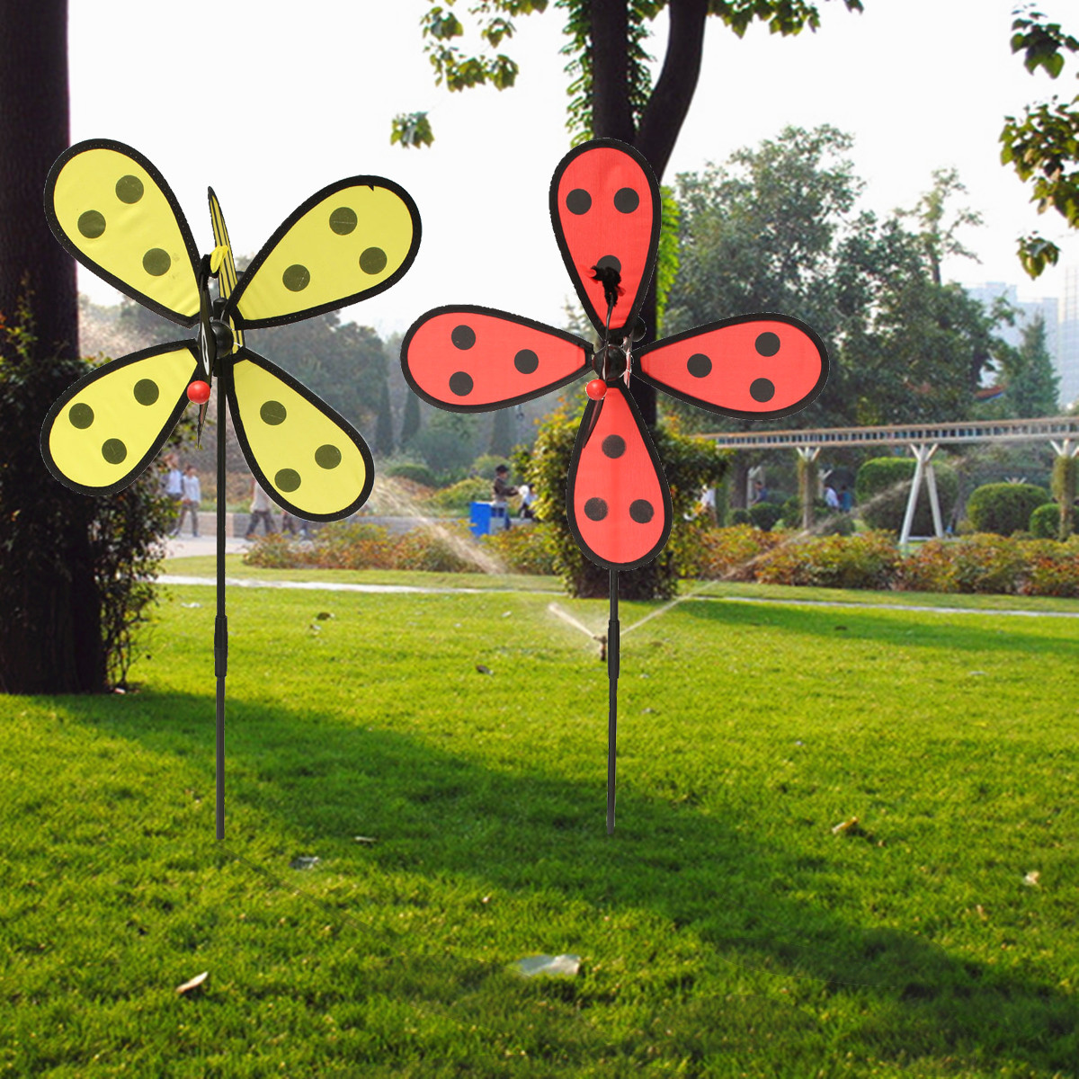 Large bumble bee ladybug windmill wind spinner whirligig for Bee decorations for the home