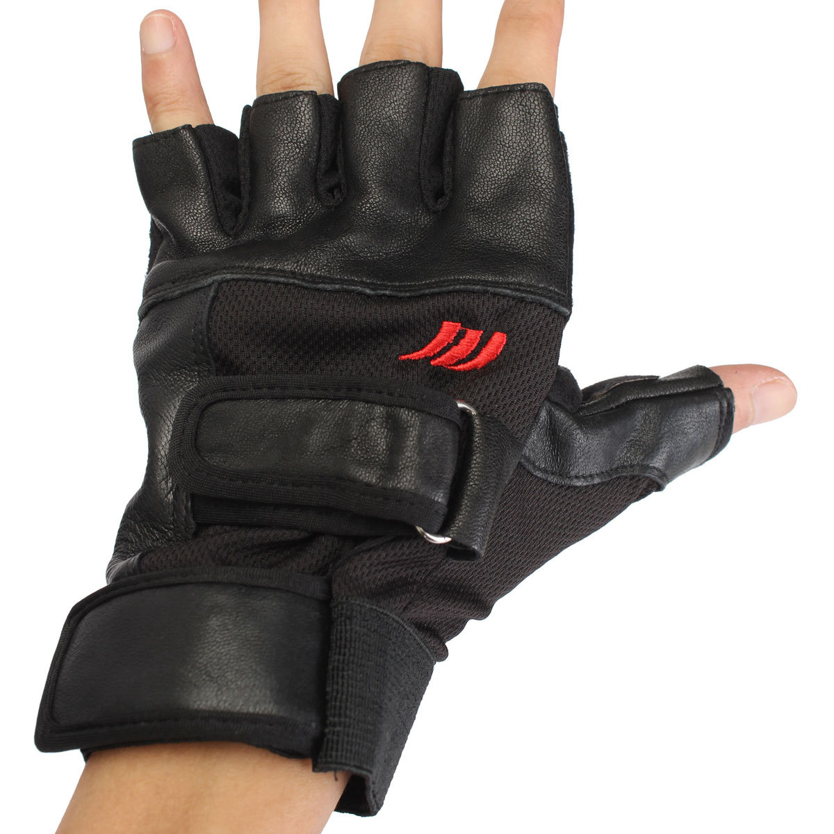 Weight Lifting Gloves Leather Fitness Gym Training Workout: Men Weight Lifting Leather Gloves Sports Training Gym