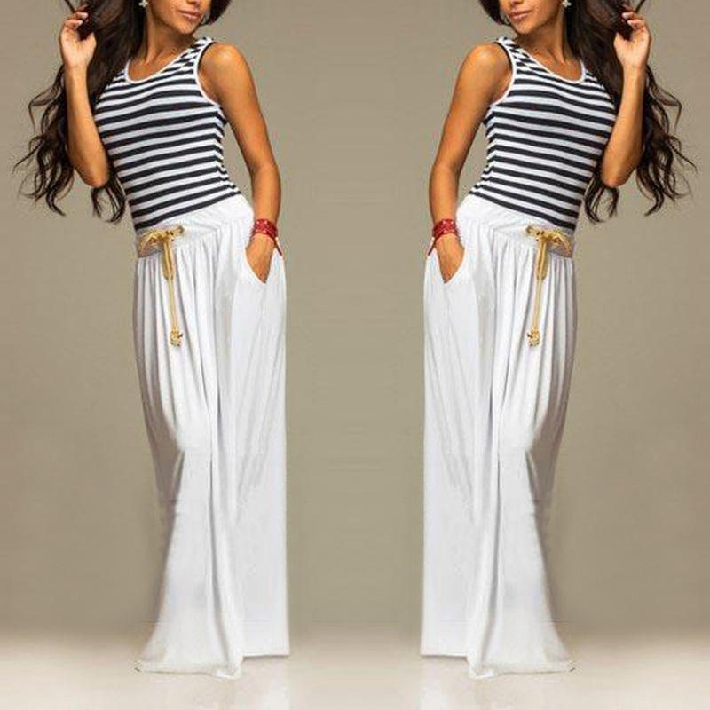 Summer Boho Women Sleeveless Striped Vest Long Maxi Evening Party Dress Beach