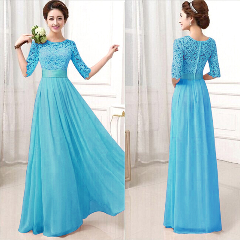 UK New Ladies Long Lace Chiffon Formal Party Wedding Dress Bridesmaid Prom Gown