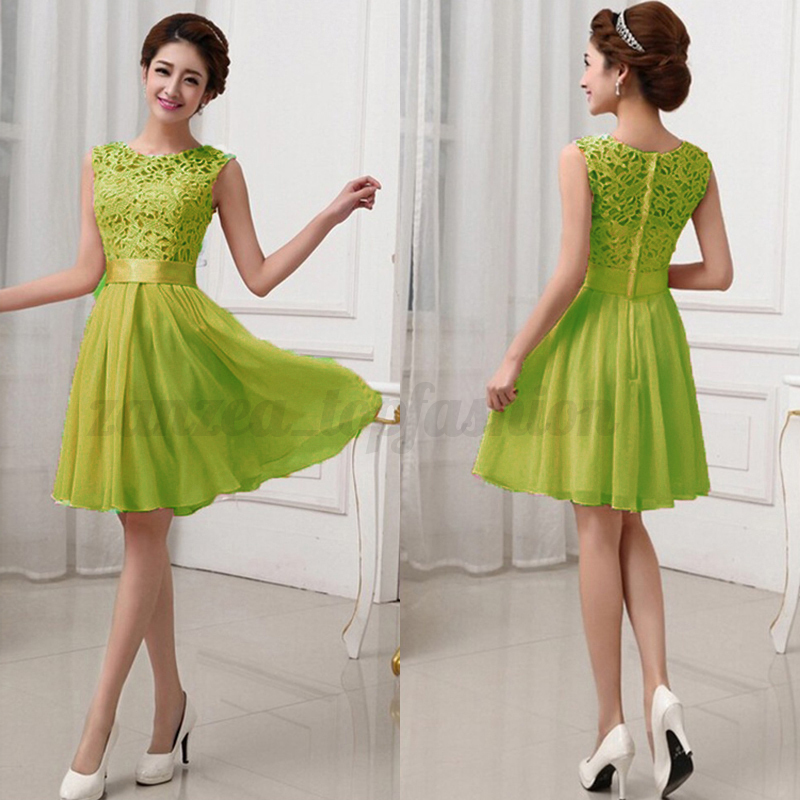 Women Cocktail Party Lace Evening Formal Bridesmaid Ball Gown Prom Mini Dress