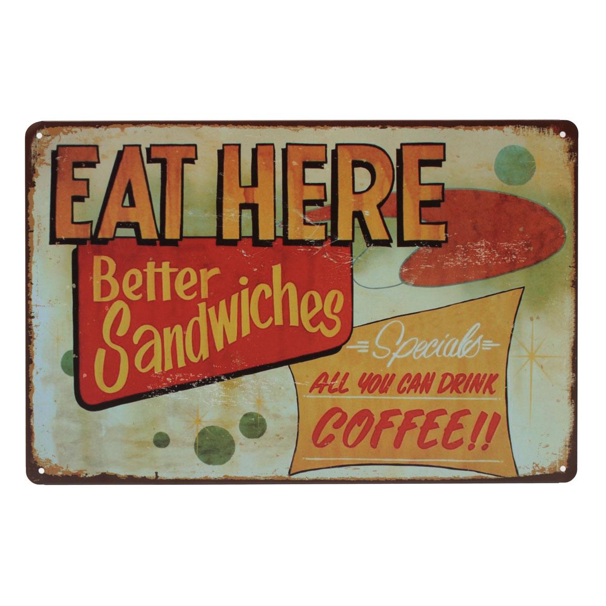 Retro Kitchen Wall Decor 20x30cm Retro Metal Tin Sign Plaque Food Wall Poster Wall Decor