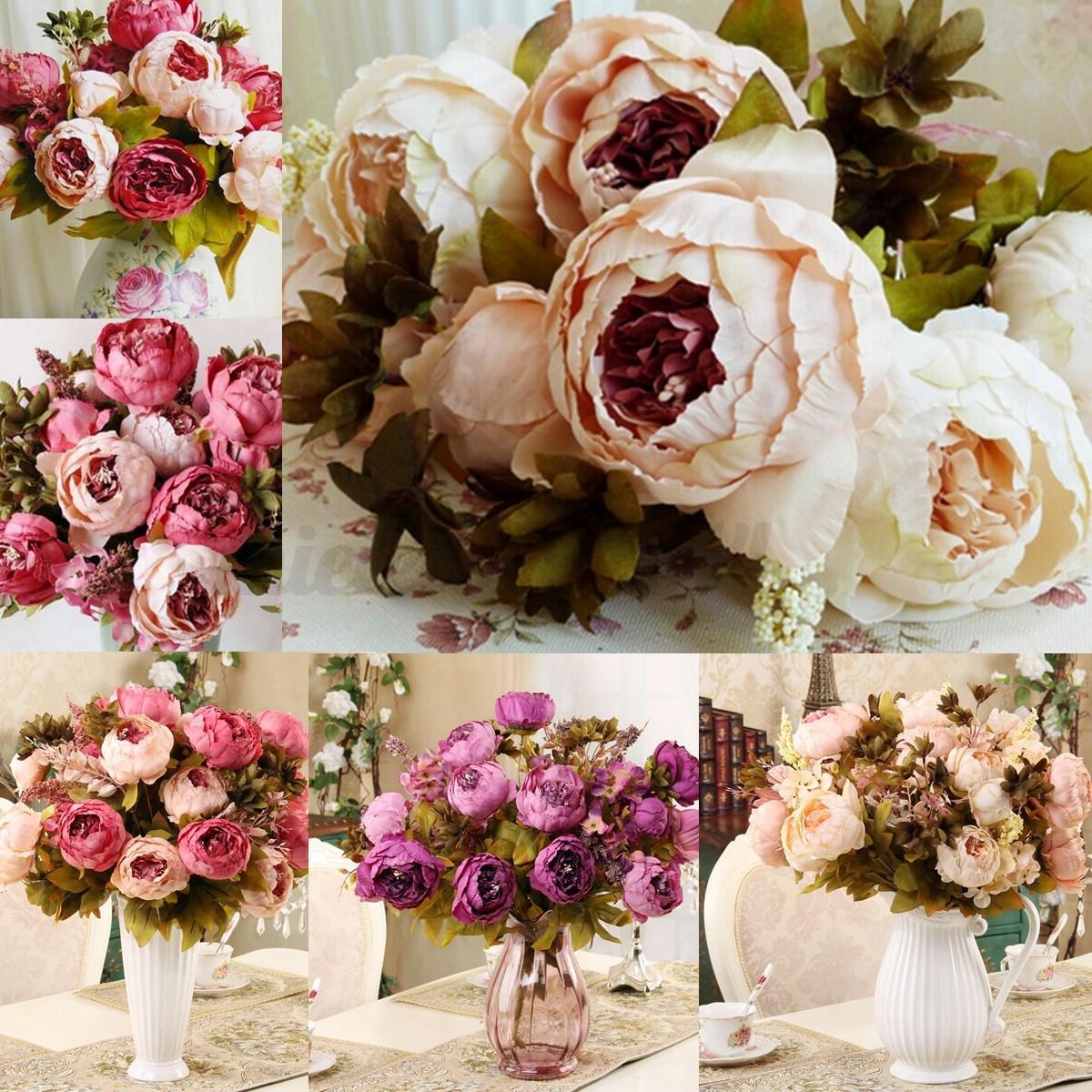 Snap 1 Bouquet Artificial Peony Silk Flowers Bridal Hydrangea