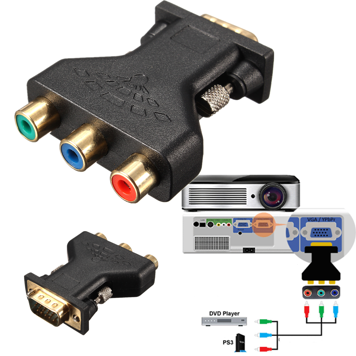 Vga To Component Cable Schematic Real Wiring Diagram S Video Adapter 3 Rca Rgb Female Hd15 Pin Styple Homemade With Audio