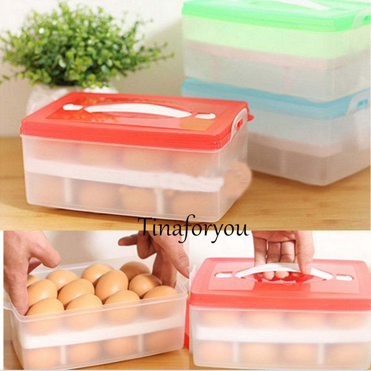 24 eggs double container holder storage box case portable - Porta poster plexiglass ...