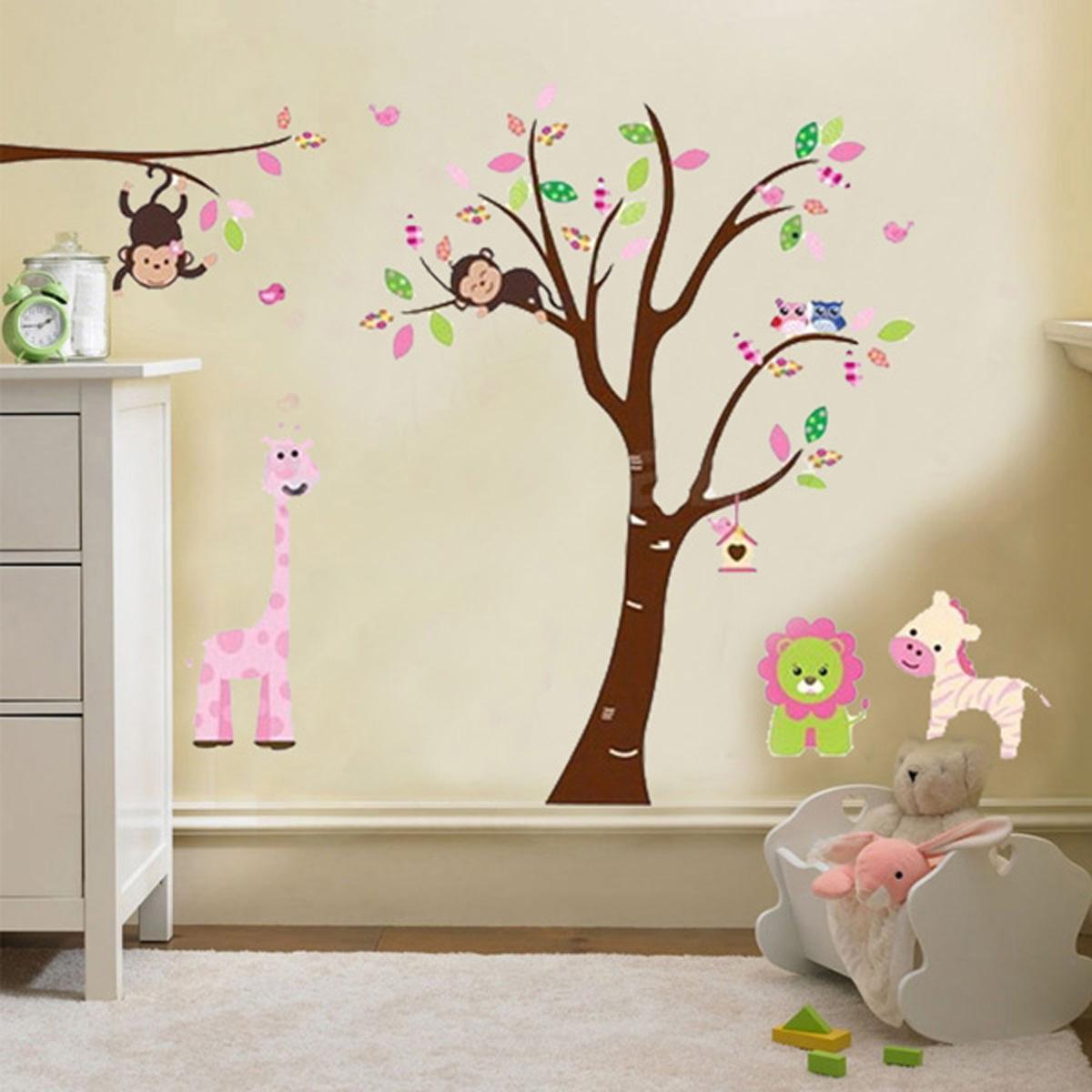 Dessin animal arbre sticker mural autocollant amovible for Dessiner sur un mur peinture