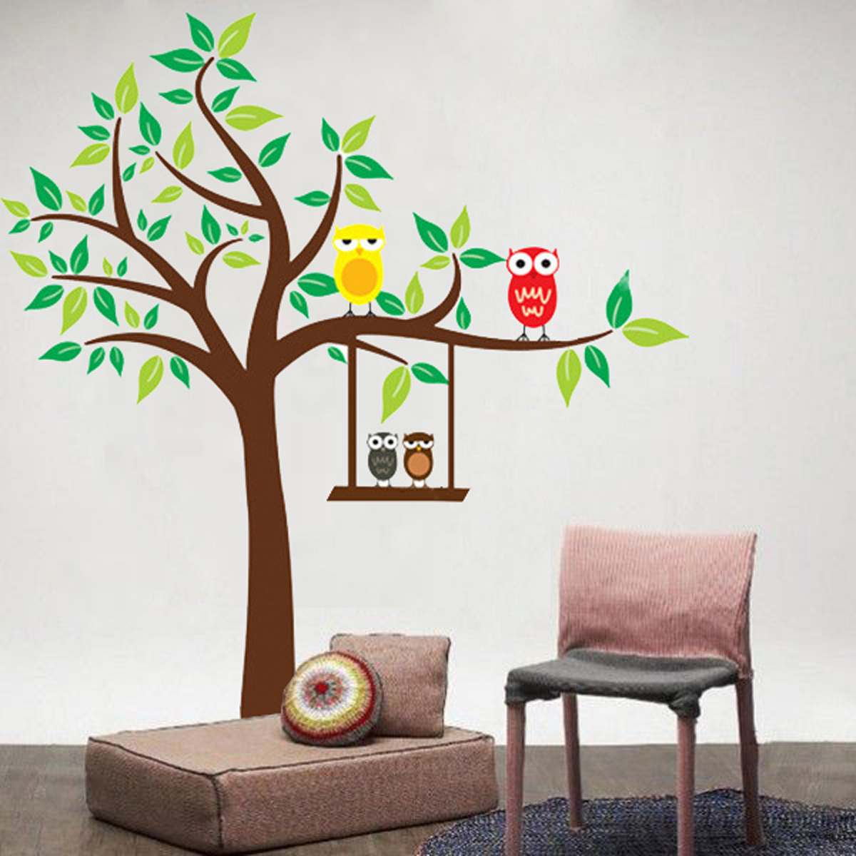 Dessin animal arbre sticker mural autocollant amovible for Peindre un dessin sur un mur