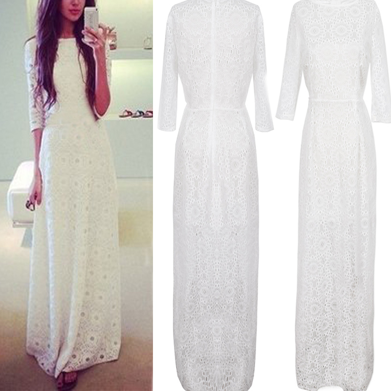 Uk women lace long ball gown wedding prom 3 4 sleeve maxi for 3 4 sleeve ball gown wedding dress
