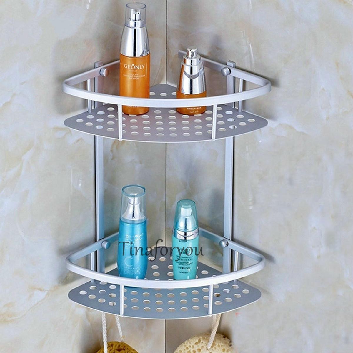 Bathroom Wall Mounted Aluminium Corner Shelf Bath Accessorie Storage Holder Rack