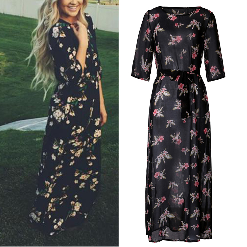 neu damen langarm blumen chiffon boho strand bodycon cocktail lange maxi kleider ebay. Black Bedroom Furniture Sets. Home Design Ideas