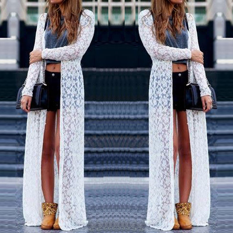 Zanzea Ladies Beach Boho Open Cardigan Loose Long Lace Floral Maxi ...