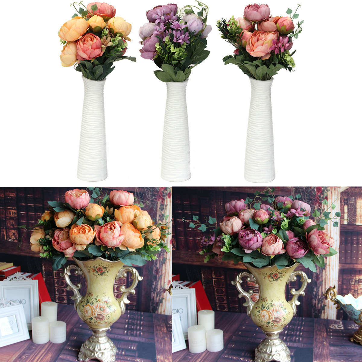 Artificial Fake Peony Silk Flowers Bridal Bouquet