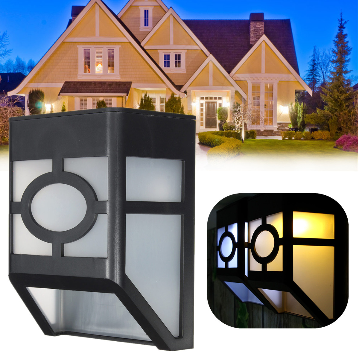 solaire 3 led lampe murale capture mouvement d tecteur maison jardin ext rieur ebay. Black Bedroom Furniture Sets. Home Design Ideas