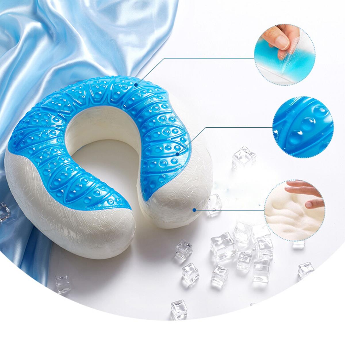 U Shaped Gel Traveling Memory Foam Cooling Pillow Neck ...