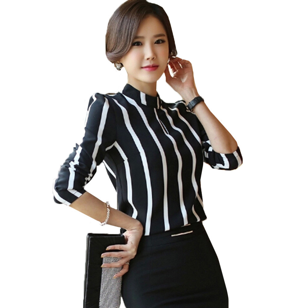 grande taille femme ol chemise rayure slim fit t shirt blouse tunique hauts tops ebay. Black Bedroom Furniture Sets. Home Design Ideas