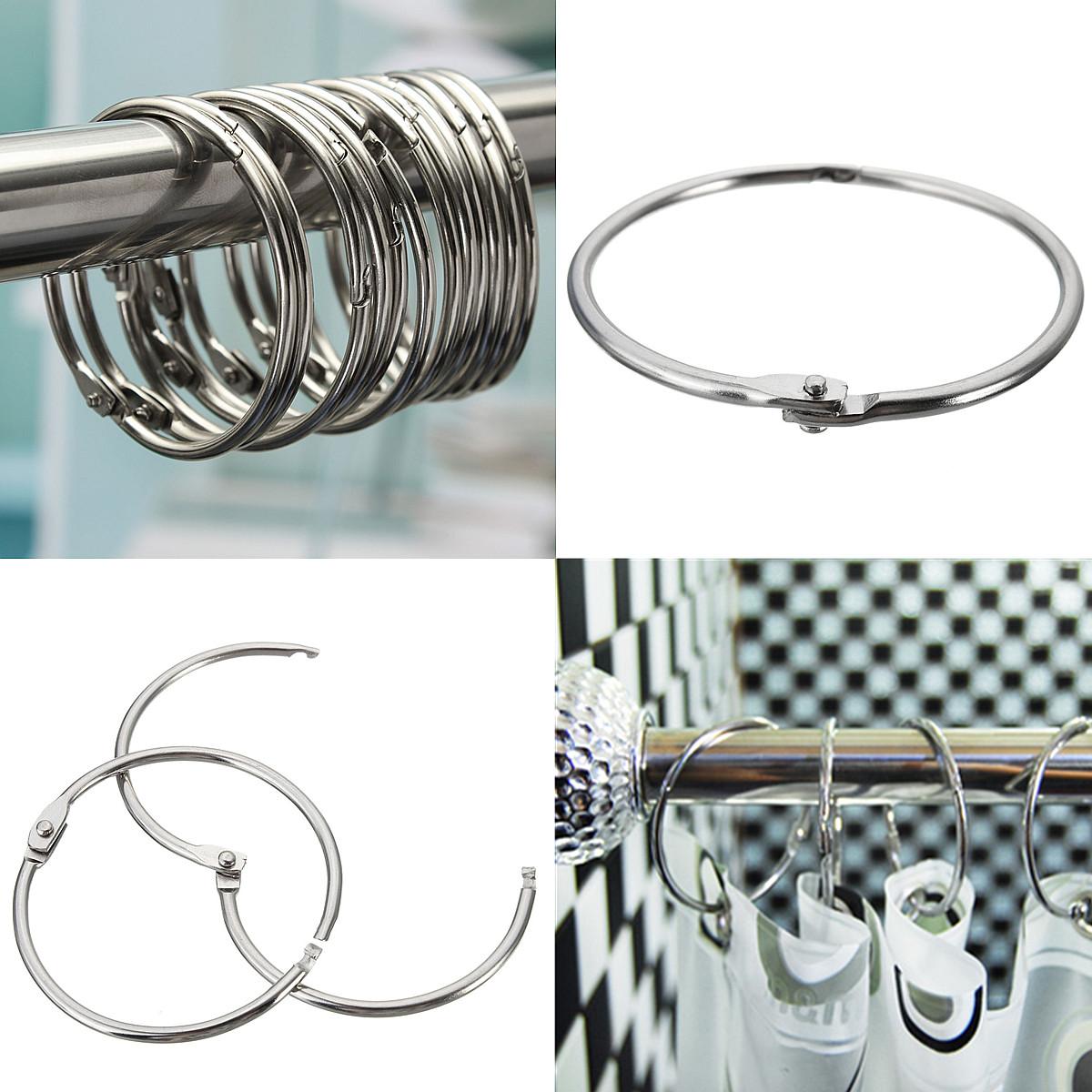 12pcs Round Circular Stainless Steel Shower Curtain Hooks Rings Anti Rust Silver Ebay