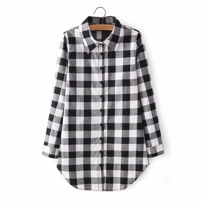 Zanzea women long sleeve plaid check oversized tops t for Oversized plaid shirt womens