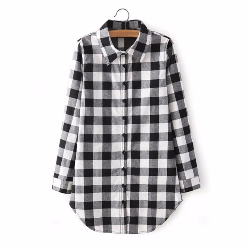 Zanzea Punk Girls Polo Collar Long Sleeve Black Red Checkered ...