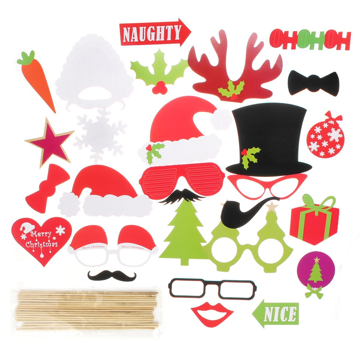DIY Christmas Halloween Photo Booth Props Party Masks Wedding Lip Mustache Stick