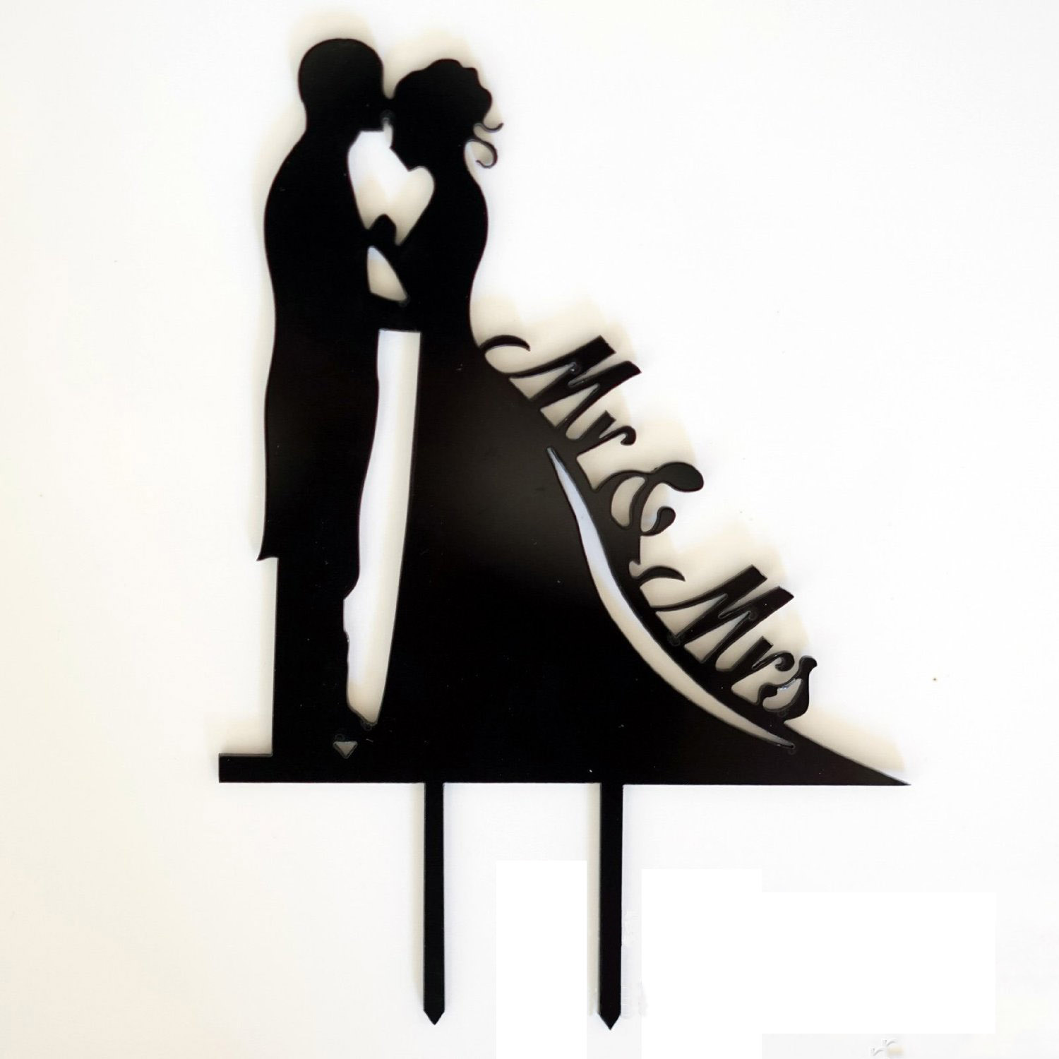 Mr&Mrs Wedding Cake Topper Bride & Groom Love Silhouette