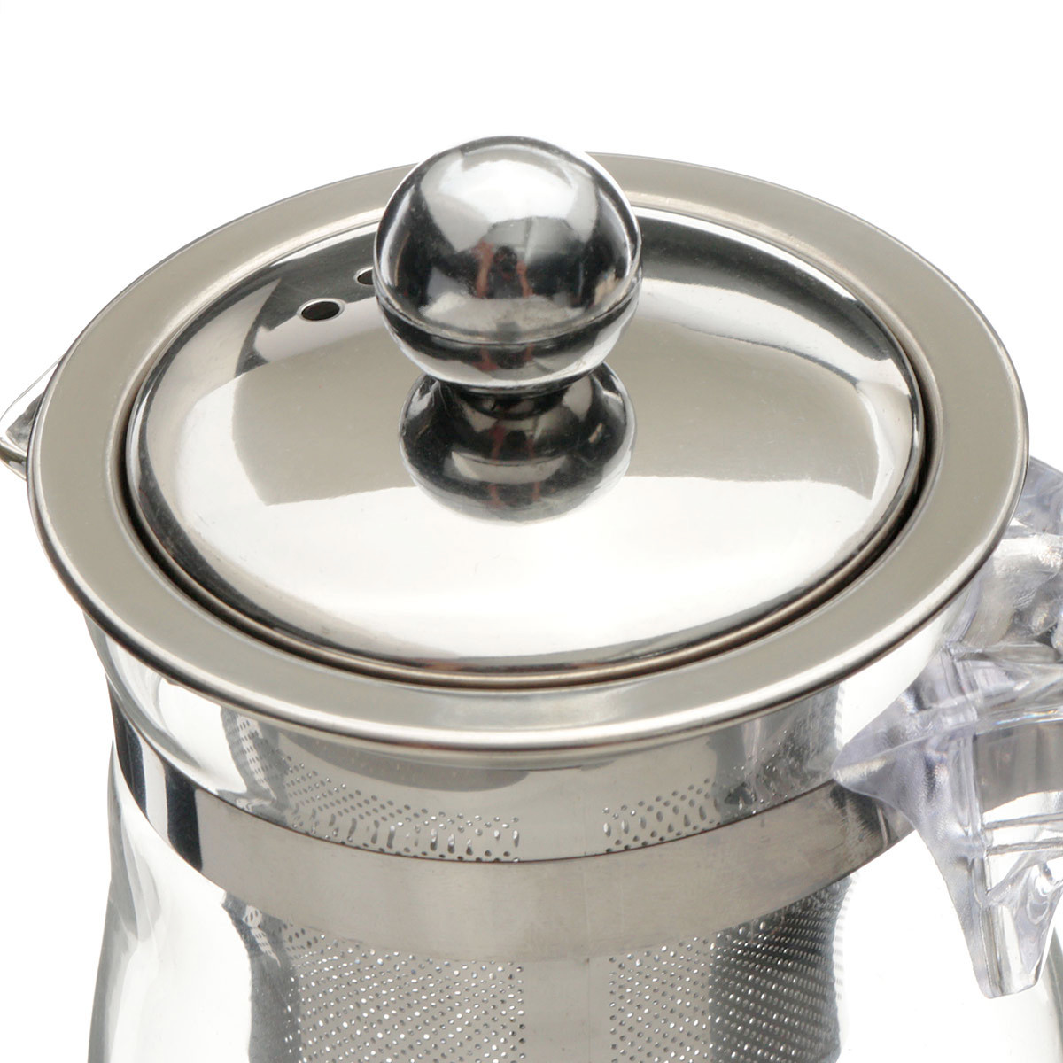 350mL Heat Resistant Clear Glass Teapot Stainless Steel Infuser Flower Tea Pot