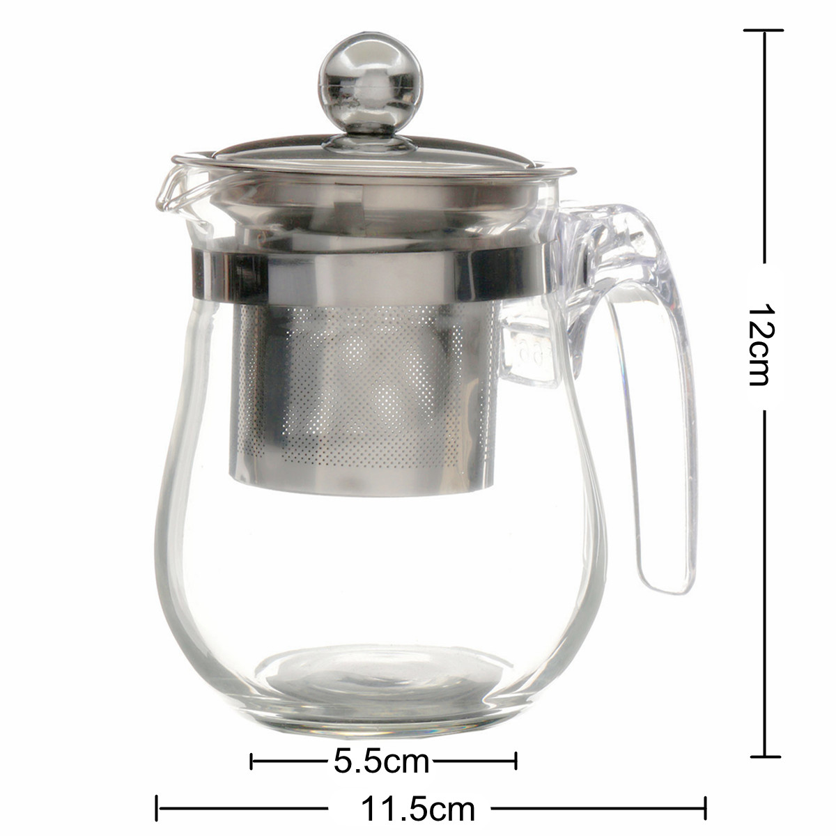350mL Heat Resistant Clear Glass Teapot Stainless Steel Infuser Flower Tea Po